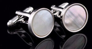 Silver-Mother-of-Pearl-Shell-Mens-Wedding-Gift-Cuff-links-by-CUFFLINKS-DIRECT