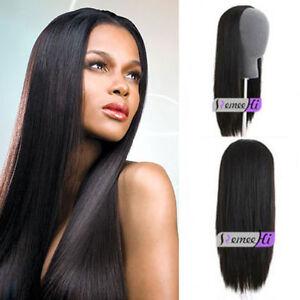glueless 3 4Half Wig 100% brazilian Human Hair Half Wig Straight ... 3c3175b2a10e