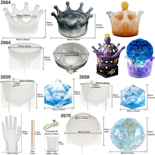 Resin Casting Molds Crown Storage Box Prism Crystal Ball Epoxy Concrete Cement