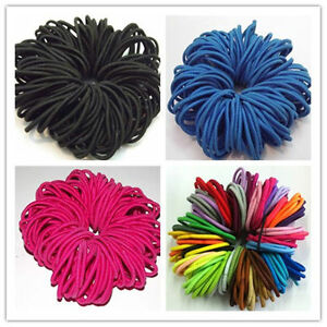 50 Pcs Elastics Quality Thick Endless Snag Free Hair Band Bobbles Bands Mixed