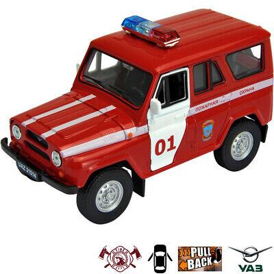 Diecast Vehicles Scale 1:36 UAZ 31514 Fire Brigade Metal Car Model
