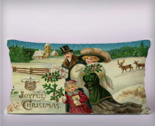 victorian Snow Christmas Family Long Cushion Covers Pillow Cases Home or Inner