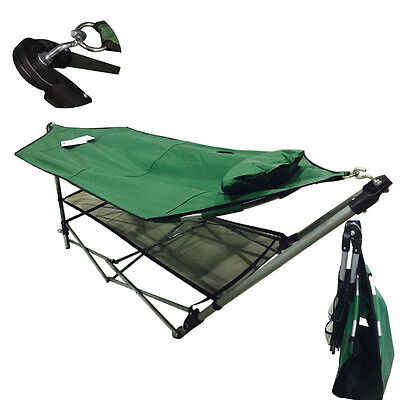 Hot Comfortable Portable Folding Porch Camping Hammock Lounge Bed Cot with Stand
