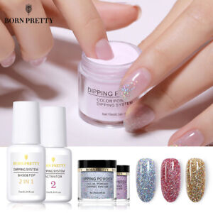 4Bottles-BORN-PRETTY-Dipping-Powder-Top-Base-Coat-Holographic-Glitter-Nail-Art