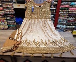 Besorgt Asian/indian/pakistani Designer Readymade Anarkali/salwar Kameez Suit (s/m/l) Jade Weiß