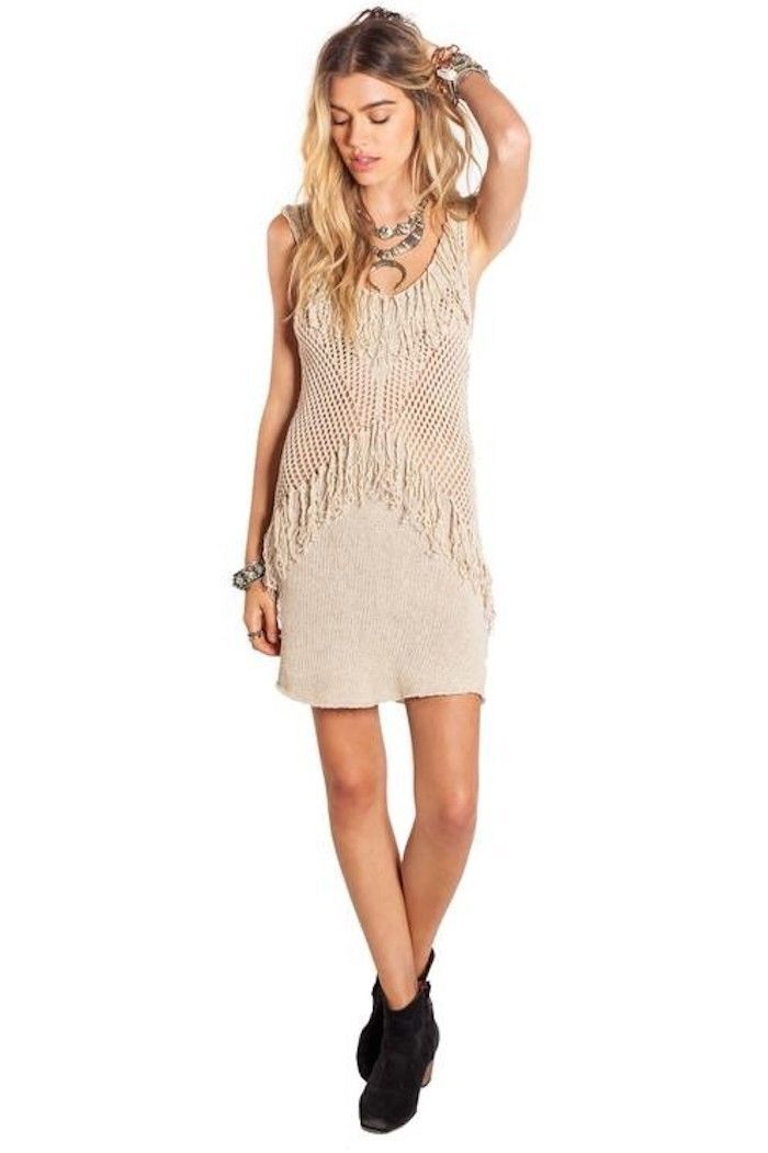 NWT AMUSE SOCIETY, BEACH VIDA Fringed Loose Knit Bodycon TRIBE DRESS XS  ANB