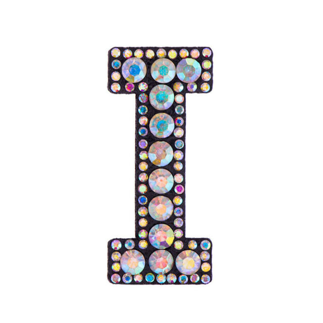 3D A-Z Rhinestone Iron-on Patches Letters Badge Applique Embroidered Stickers
