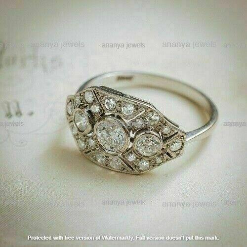 2 Ct Round Cut Diamond Art Deco Vintage Ring for Women/'s 14K White Gold Finish