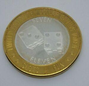 Casino Silver Strike Slots A Fun Dice 7 11 .999 Silver $10 Gaming Token