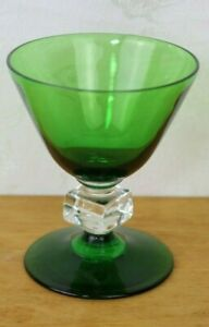 Vintage-Bryce-WILMiNGTON-Green-Cube-Stem-Liquor-Cocktail-Glass-Rare-3-5-8-034