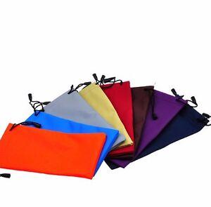 POUCH Drawstring Eye Waterproof Sun Glasses Bag Case Orange Blue Black FREE WIPE
