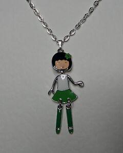 ANIME-dancing-GIRL-DOLL-PENDANT-GREEN-WHITE-ENAMEL-SILVER-PL-Harijuku-Kawaii