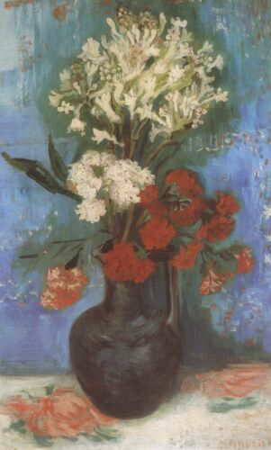 Vase With Carnations Flowers Van Gogh VG260 Repro Art Print A4 A3 A2 A1