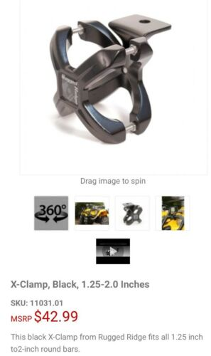 """4 Wheelers Rugged Ridge 1.25-2"""" X-Clamp Access Side By Sides Mount For Quads"""