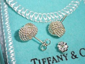 Details About Tiffany Co Sterling Silver Twist Knot Weave Mesh Stud Earrings In Pouch Box