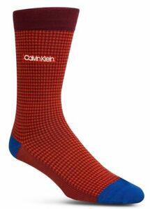 35-CALVIN-KLEIN-Men-1-PAIR-PACK-RED-BLUE-Cotton-Crew-Dress-Socks-Shoe-Size-7-12