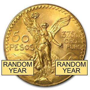 Mexican 50 Pesos Gold Coin Au Or Bu Random Year Coin
