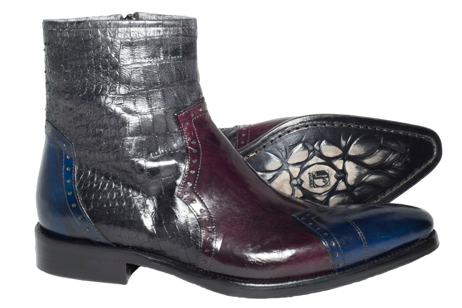 Jo Ghost 705 Italian Uomo leather multicolour boots with sidezipper and crocodil