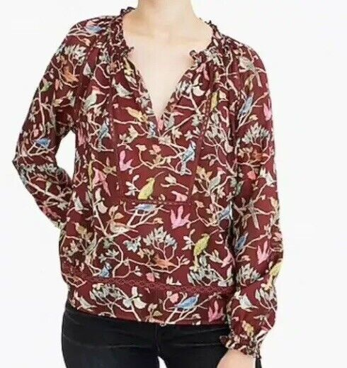 "NWT  Point Sur ruffle-neck popover in menagerie print SizS K5124 Multi HO""18"