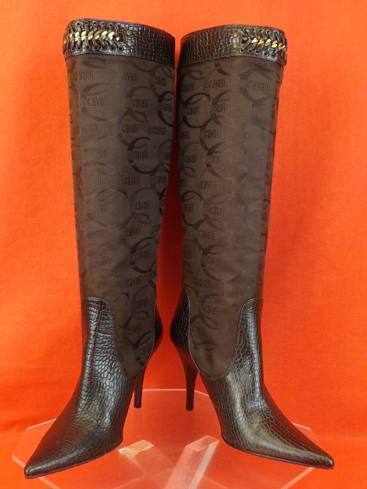 NWB NWB NWB Just Cavalli Marrón Cocodrilo Cadena De Lona logotipo impreso Lth la rodilla botas altas 40  Venta en línea precio bajo descuento