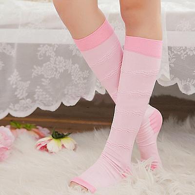 Pink Open Toe Varicose Veins Compression Socks Calf Leg Slimming Stockings