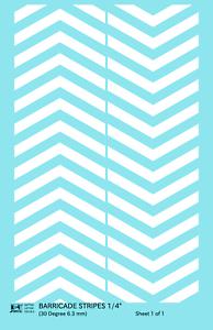 K4 HO Decals Black 1//16 Inch 30 Degree Diagonal Barricade Stripes Set