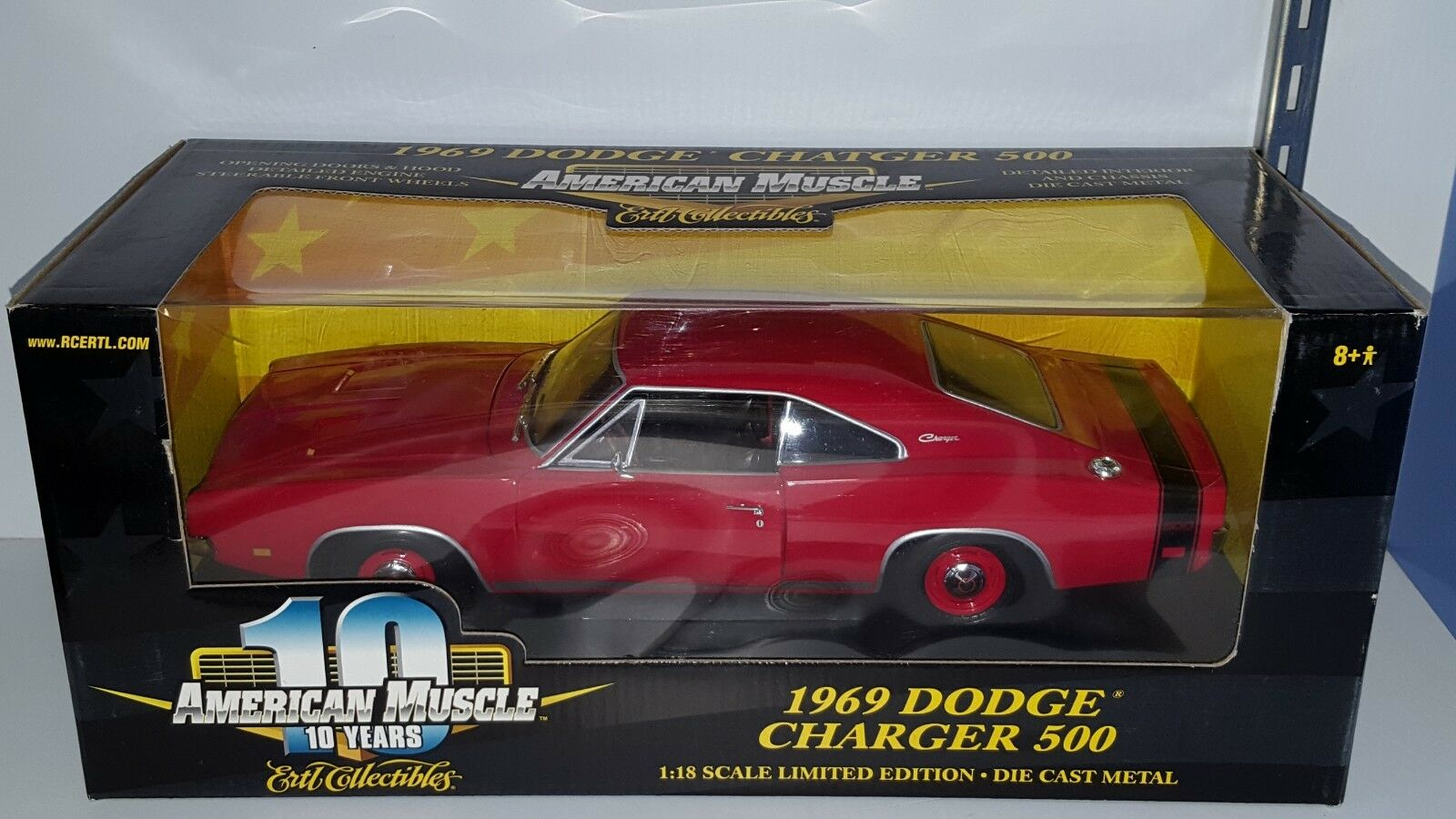 1 18 ertl american muscle 1969 Dodge Charger 500 rouge Yd
