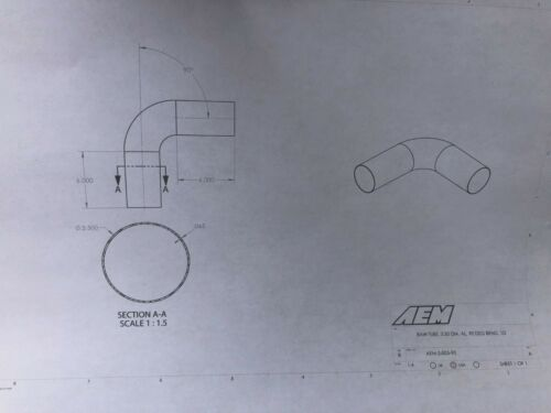 "AEM Induction Part # 2-005-90 Universal Intake 6/"" Straight Tube w// 90° Elbow"