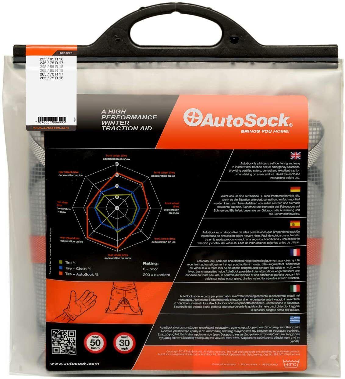 AutoSock AS698 Snow Sock Set W// Auto Emergency Shovel