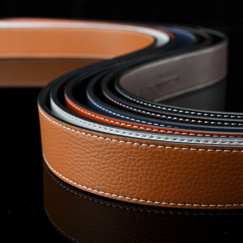MENS DESIGNER LEATHER BELTS FOR MEN H BELT STRAP ONLY NO BUCKLE REVERSIBLE BELTS