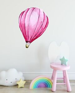 Details About Pink Hot Air Balloon Wall Decal Removable Fabric Sticker Nursery Decor