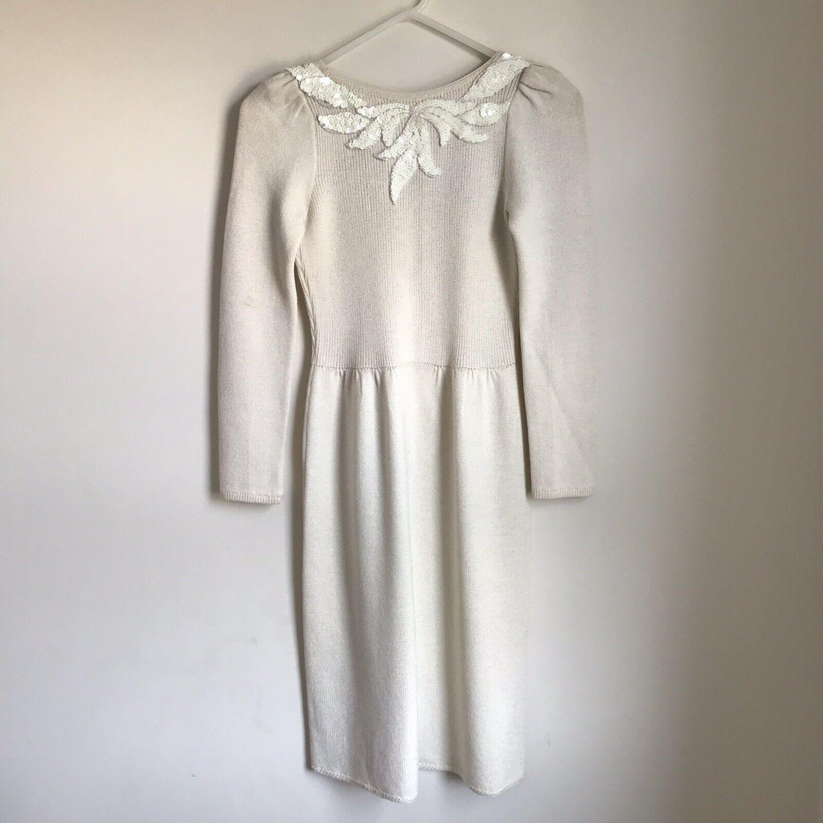 Vintage St John Knit Robe Crème Paillettes Dos Ouvert pour Femme Petit je Magnin