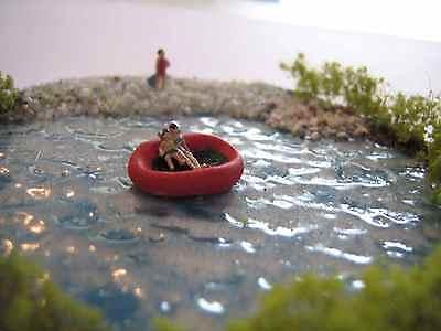 (dw2) Bagnanti Barca Lago Figure Scala Scale Gauge Z (1:220) Bather Boat Lake Modellazione Duratura
