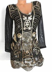 glamouröses abendkleid glitzer pailletten kleid partykleid schwarz gold s m l xl  ebay
