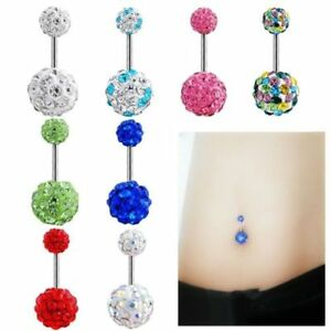 piercing nombril courbe arcade cristal strass barbell boule anneau belly ring ebay. Black Bedroom Furniture Sets. Home Design Ideas
