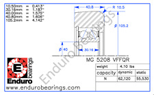 Mast Guide Bearing ENDURO MG 5208 VFFQQ  Hyster 1399201 and 1511883 forklift