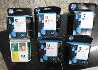 Genuine Lot 5 Hp 12 Ink C4804a C4805a C4806a + 1 Yellow Printhead C5026a