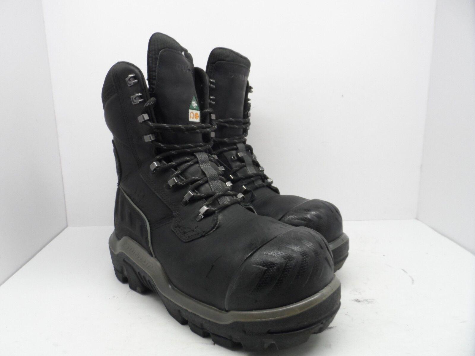 Dunlop Men's 8'' Composite Toe Composite Plate WP Leather Work Boots Black 10.5M