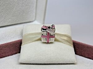 New W/Box Pandora Pink Wrapped With Love Present Charm # 791132 En24 Retired by Pandora