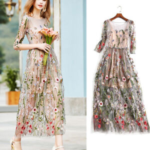 ccc6a829d0 Women's Lace Flower Embroidery Dress Long Sleeve Evening Party ...