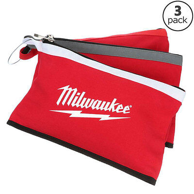 Milwaukee 3-Pack Multi Color Zipper Canvas Small Parts Hand Tool Storage Pouches