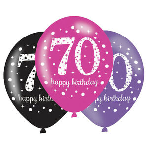 Image Is Loading 6 X 70th Birthday Balloons Black Pink Lilac