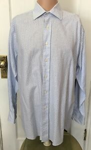 Michael-Kors-Shirt-Mens-Size-16-L-34-35-Large-Long-Sleeve-Blue-Check