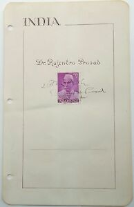 Details about Rajendra Prasad 1st President Of India Autograph Signed Album  Page ''Rare''