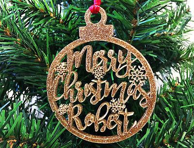 Personnalisé Tout Nom Arbre de Noël Décorations De Noël Baubles cadeaux Presents
