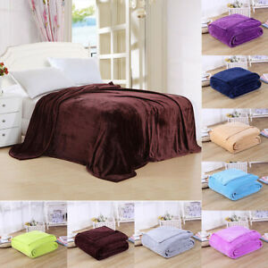 Details About Super Soft Warm Solid C Velvet Plush Fleece Blanket Throw Rug Sofa Bedding