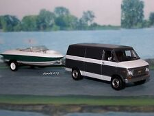 1977 77 CHEVY VAN + SKI BOAT + TRAILER COLLECTIBLE MODELS - 1/64 SCALE DIORAMA