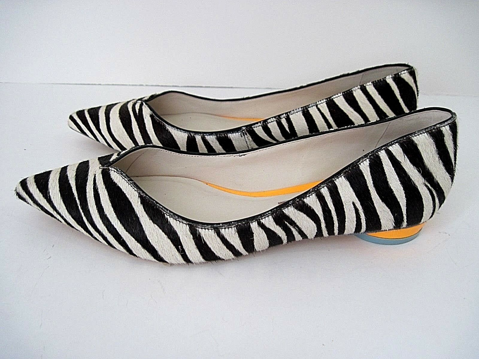 Sophia Webster Loca Zebra Printed Calf Hair Flatst msrp:    495 Taglia 38.5 56f491