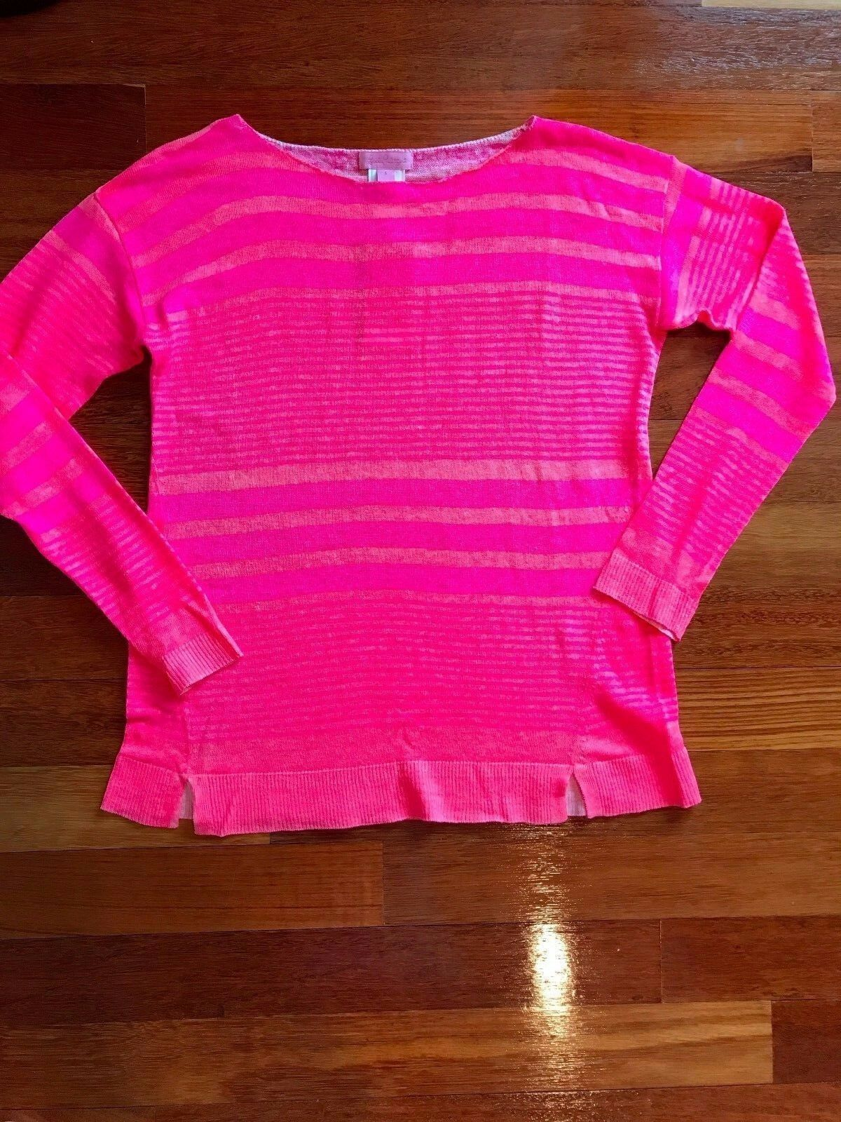 NWT Lilly Pulitzer Camilla Sweater Kir Royal Pi Exotic Garden Stripe Size L