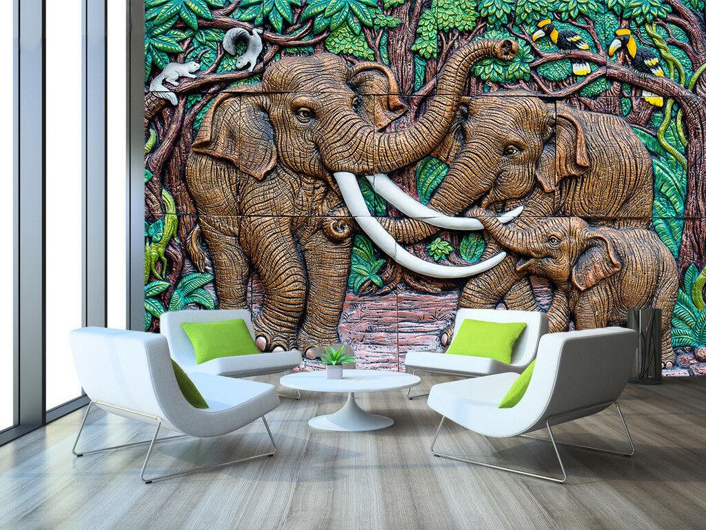3D Waldelefant 773 Tapete Tapeten Mauer Foto Familie Tapete Wandgemälde DE